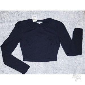 Long sleeve, open back, black crop top NWT